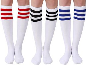 Joulli Women's Casual Stripe Knee High Socks 3 Pairs
