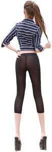 LinvMe Women's Sexy See Through Cropped Leggings Tight Pants
