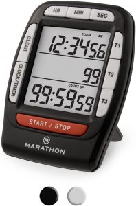 Marathon Multi Event Digital Timer with Clock Function, Stand, Magnetic Back and Ring Alarm