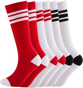 NEVSNEV Knee High Tube Socks Comfortable and Breathable with Triple Stripes