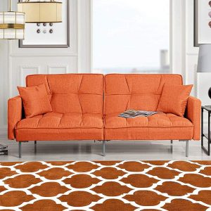 Orange Sleeper Futon Sofa Bed Couch, Convertible Sofa Beds