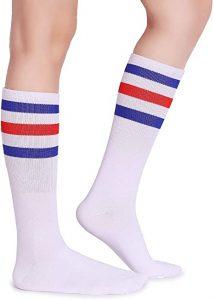 Pareberry Classic Triple Stripes Soft Cotton On the Calf Retro White Tube Socks