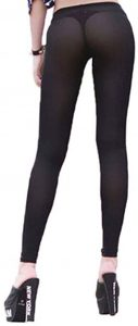 YiZYiF Women's Stretchy See Through Sheer Long Flare Pants Tight Leggings
