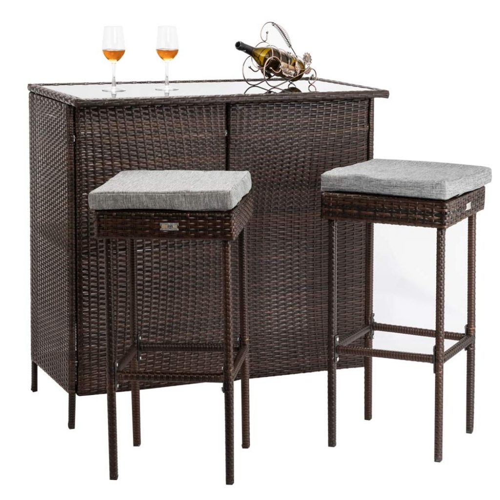 Bonnlo 3PCS Outdoor Wicker Bar Set with Stools and Glass Top Table