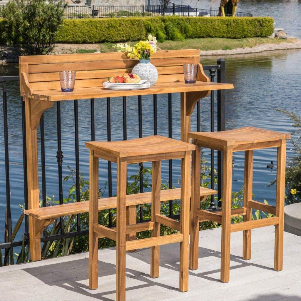 Christopher Knight Home 304147 Caribbean Outdoor Acacia Wood Balcony Bar Set