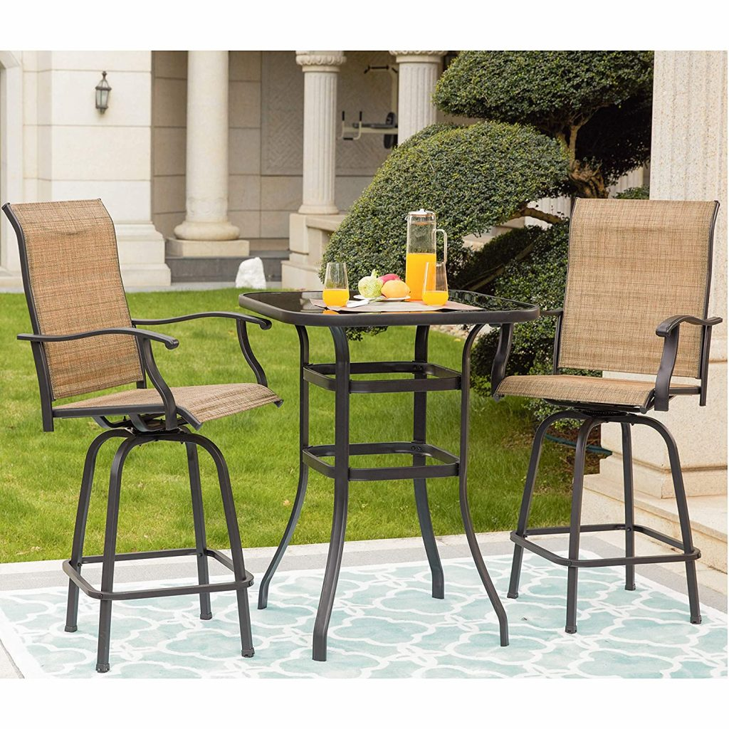 LOKATSE HOME 3 Pcs High Swivel Stools 2 Tall Chairs and 1 Height Outdoor Bistro Table