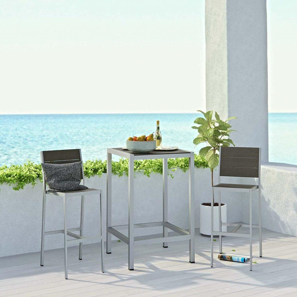 Modway Shore Aluminium 3-Piece Outdoor Patio Pub Bistro Set