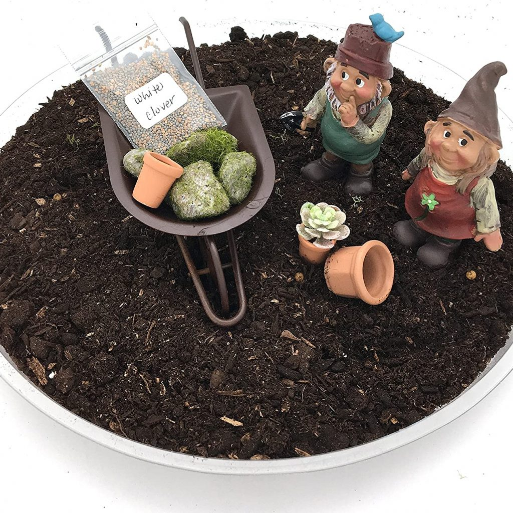 PaBu GuLi DIY Gnome Garden Kit - Boy and Girl Gnomes with Miniature Fairy Garden Wheelbarrow and Accessory Set