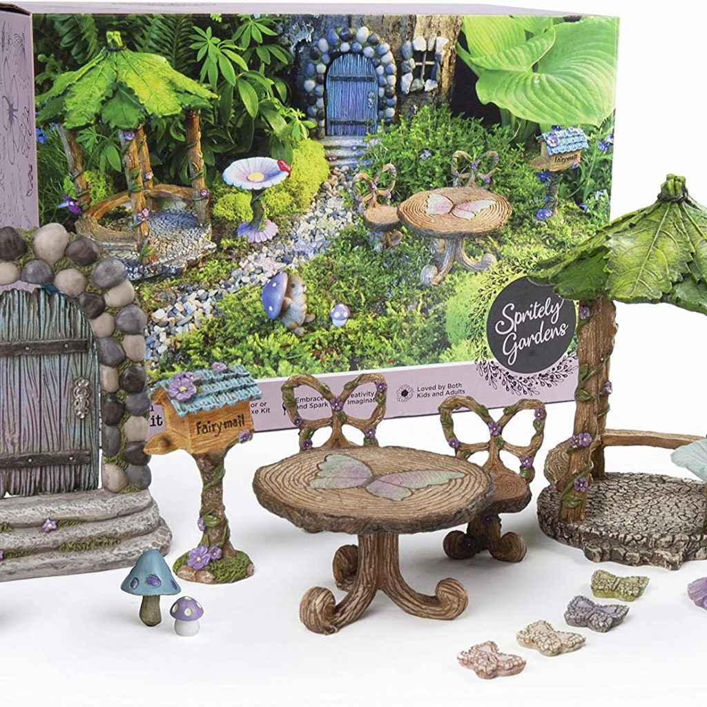 Spritely Gardens Deluxe 14-Piece Fairy Garden Kit with Accessories