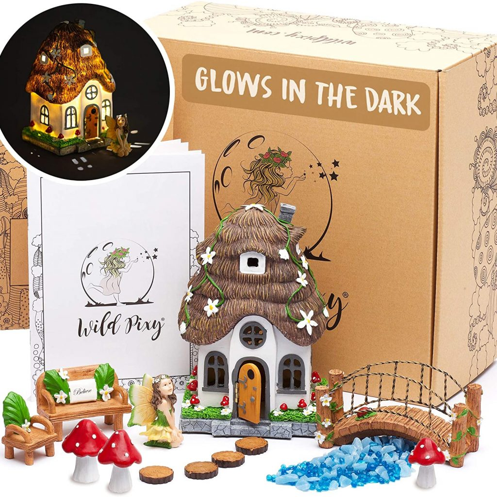 WILD PIXY Fairy Garden Accessories Kitand Solar LED Lights