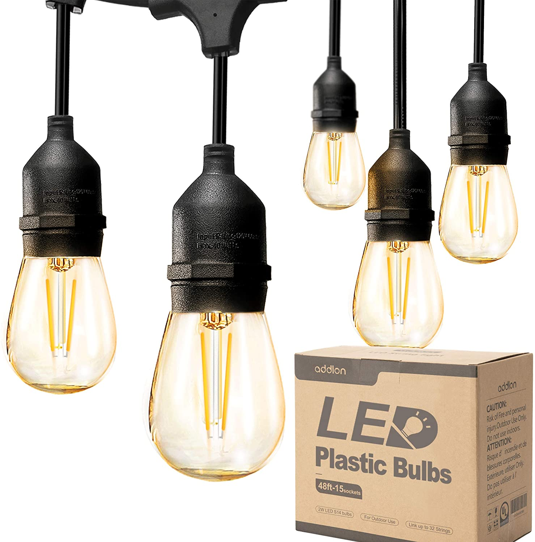ADDLON Outdoor String Lights Commercial Grade Weatherproof Strand Edison Vintage Bulbs