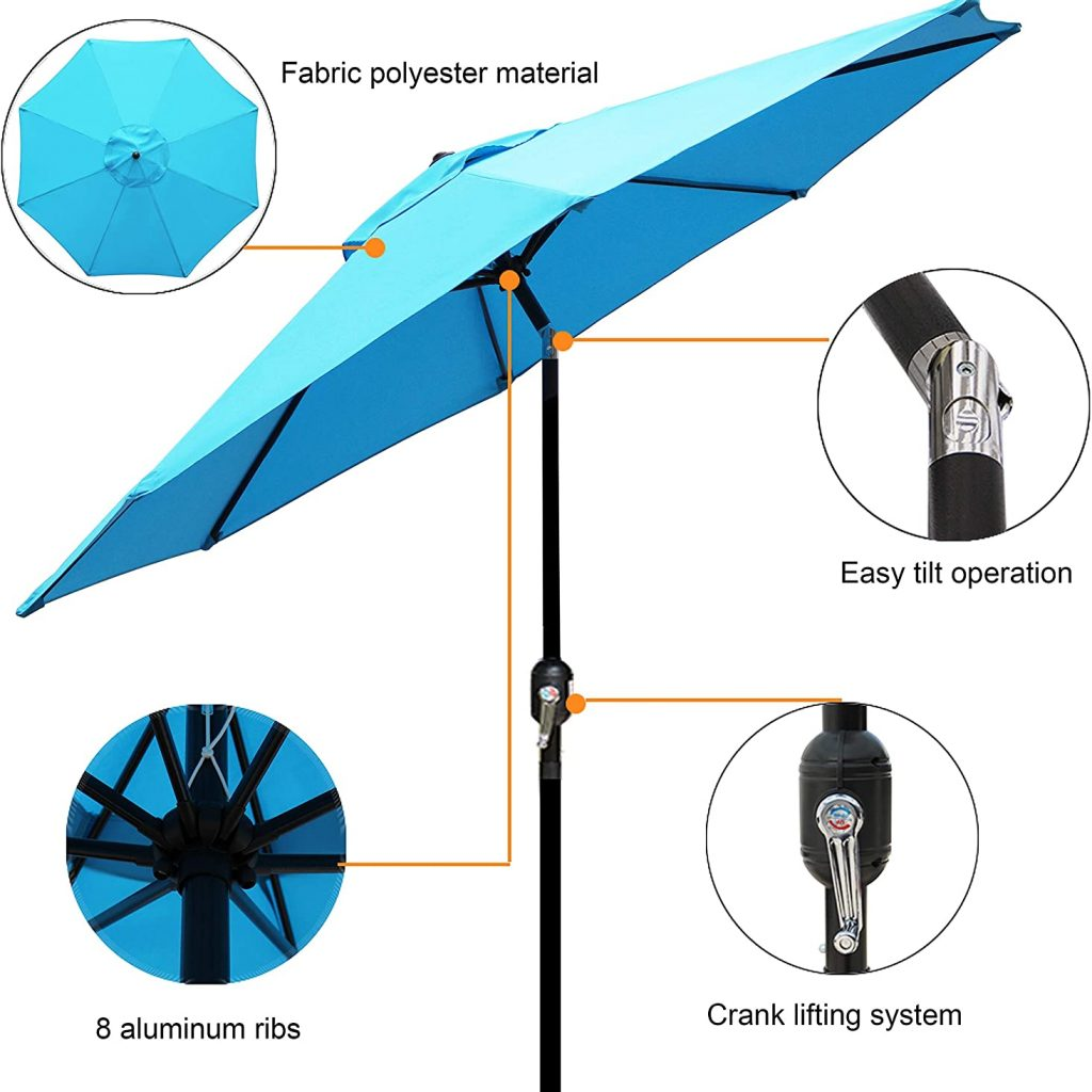 Blissun 9' Outdoor Aluminum Patio Umbrella