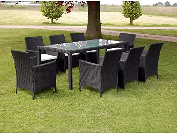 Festnight 9 Piece Outdoor Patio Rattan Wicker Furniture Dining Table Chair Set