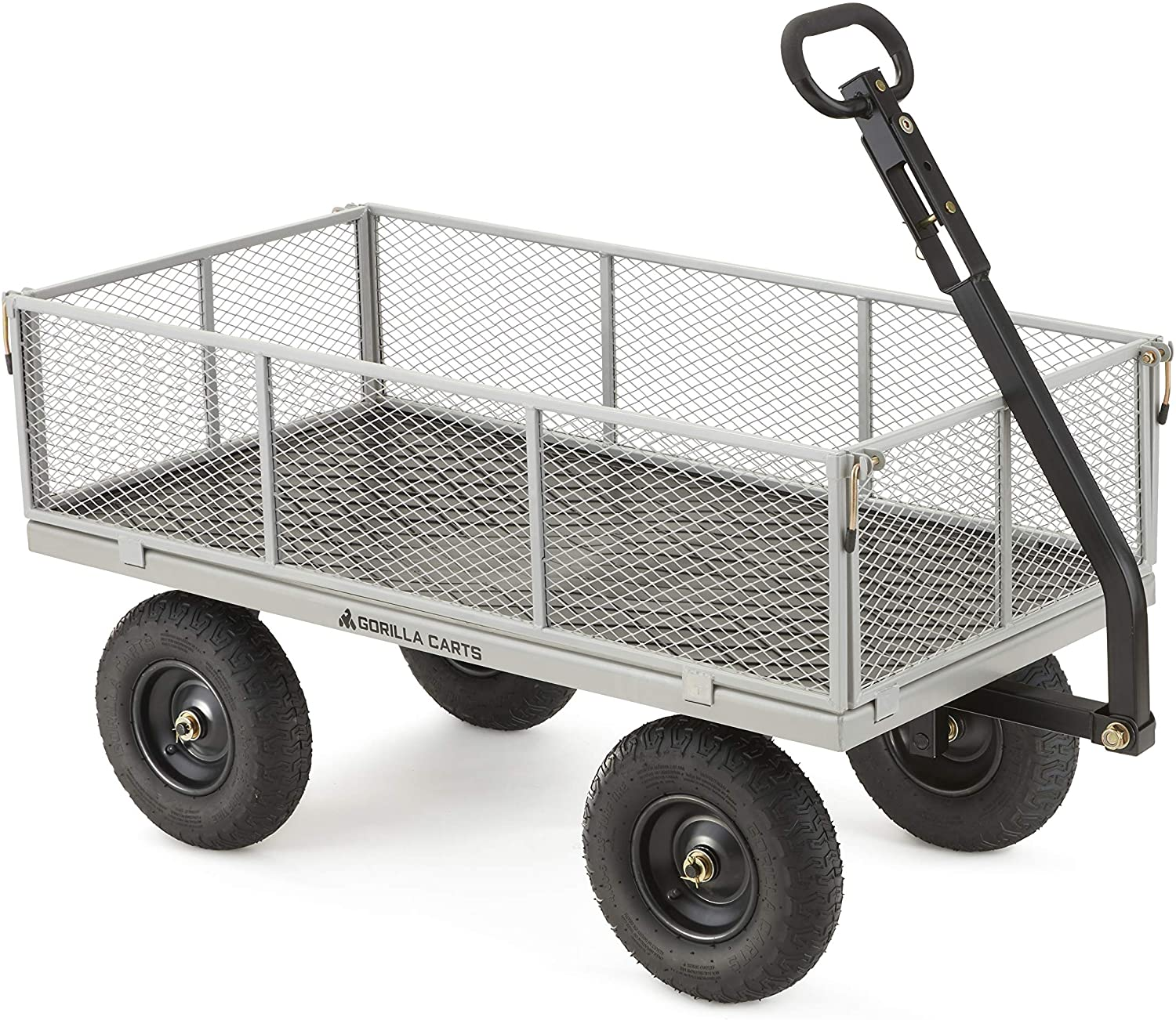 Gorilla Carts GOR1001-COM Heavy-Duty Steel Utility Cart with Removable Sides