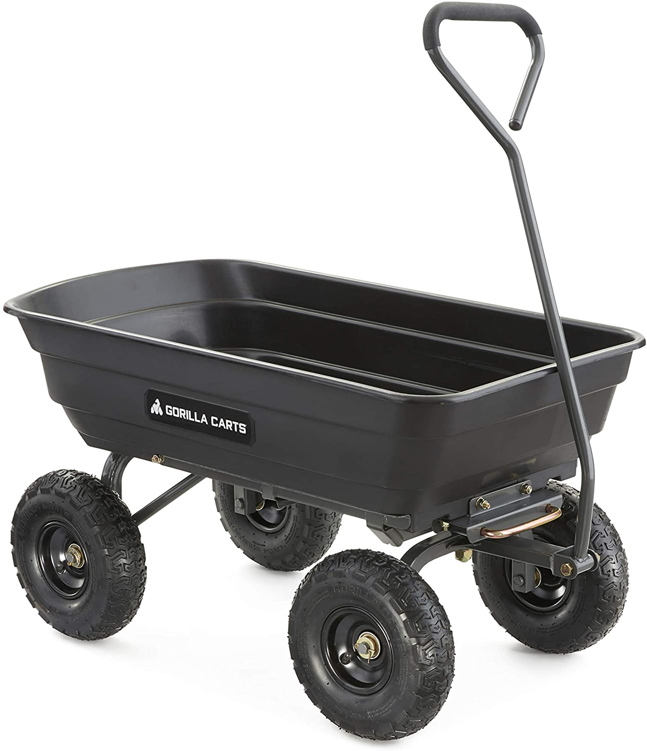 Gorilla Carts GOR4PS Poly Garden Dump Cart with Steel Frame and 10-in Pneumatic Tires