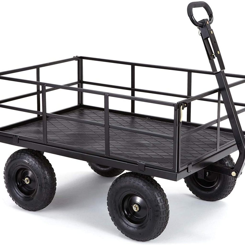 """Gorilla Carts Heavy-Duty Steel Utility Cart with Removable Sides and 13"""" Tires"""