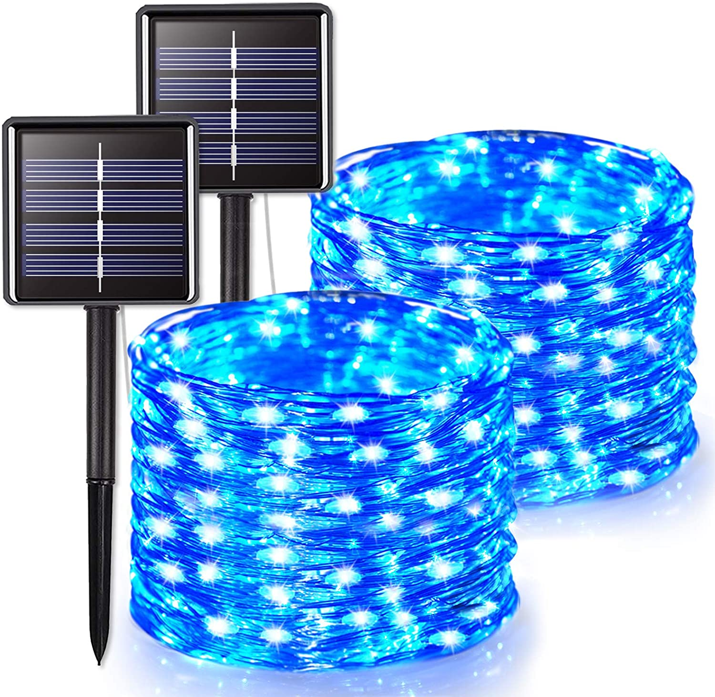 JMEXSUSS 2 Pack Solar String Lights Outdoor