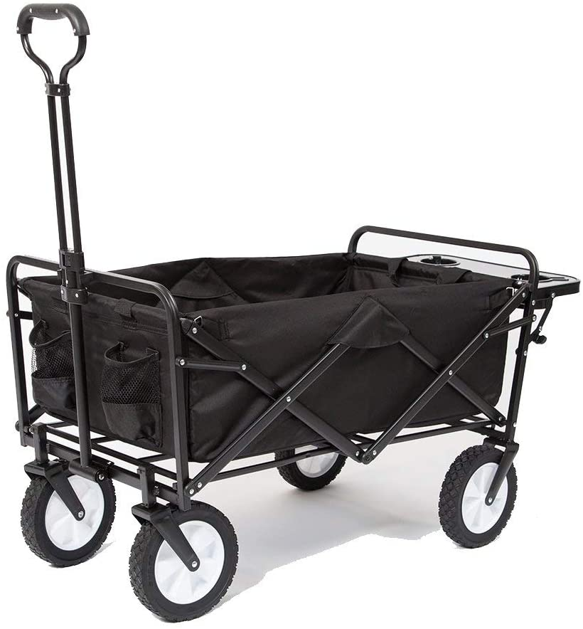 Mac Sports Collapsible Folding Outdoor Utility Wagon with Side Table