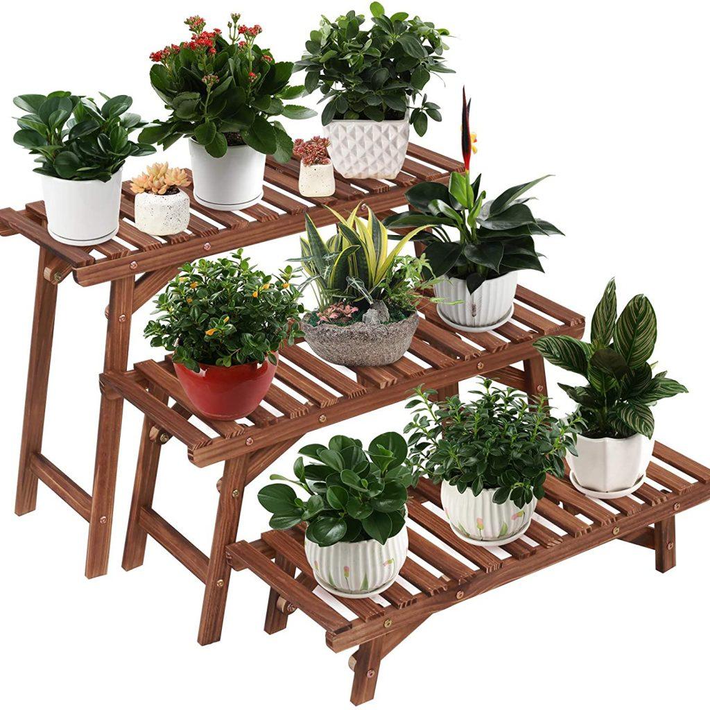 Ufine Free Standing 3 Tier Ladder Shelf Wood Plant Stand