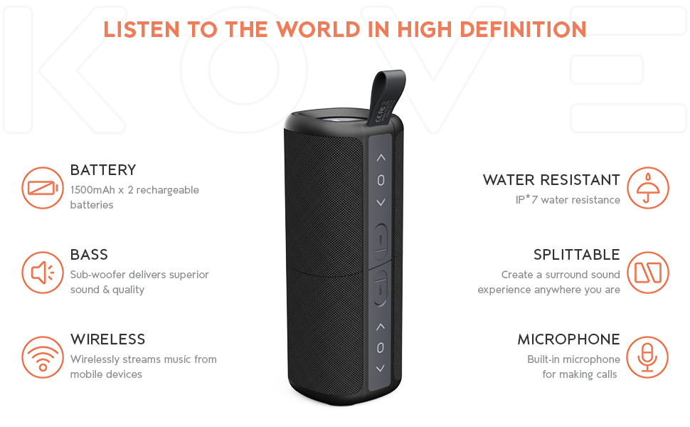 Kove Commuter 2 179-S - Bluetooth Speakers, Portable, Wireless with HD Louder Volume, Deep Bass Subwoofer